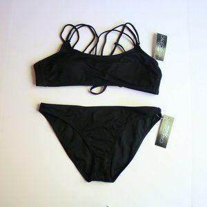 California Waves Swimsuit Bikini Ribbed NEW Large